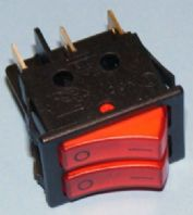 14AG007 Doble interruptor de balancín unipolar luminoso rojo 6 faston